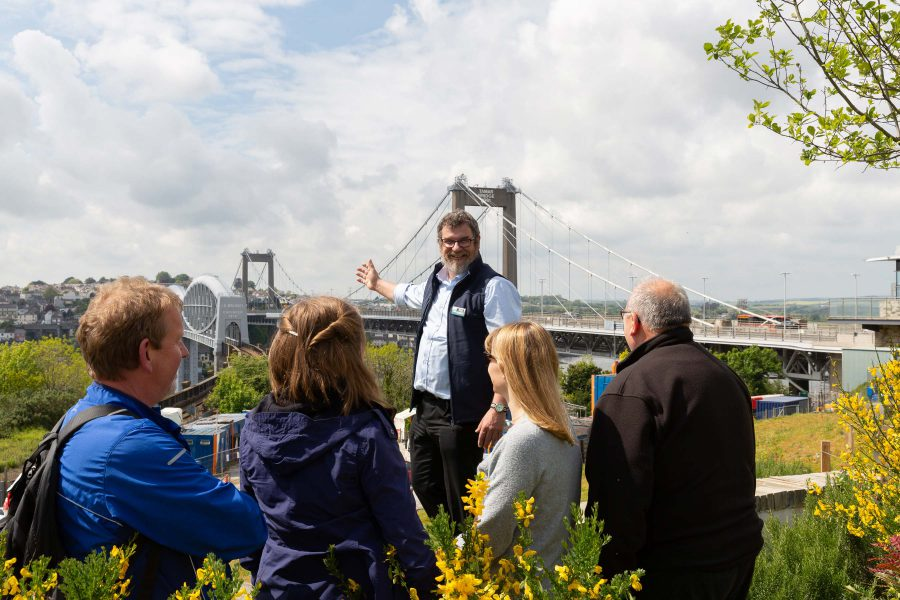 Guided tour with the Tamar and Royal Albert Bridges behind